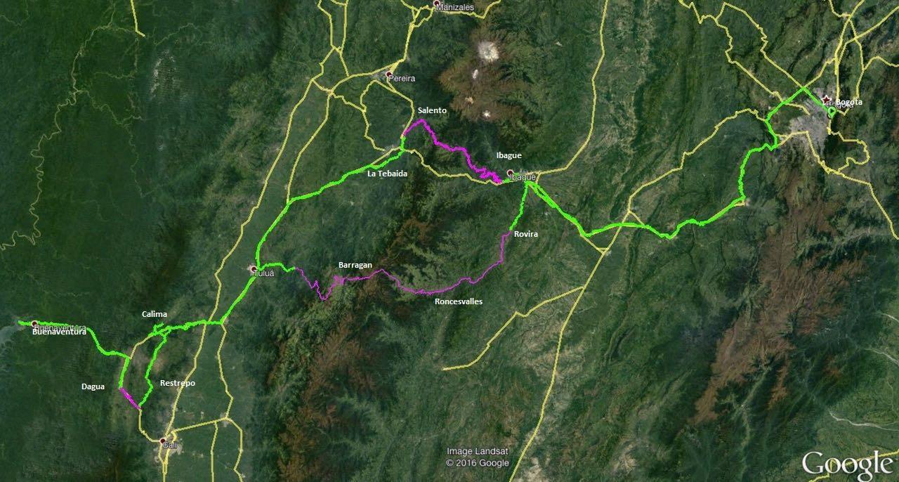 Recorrido Total - En Morado carreteras Off Road - Mapa Jorge Uribe